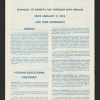 1955-01-31 Summary of Benefits for Veterans with Service and their Dependents Page 1