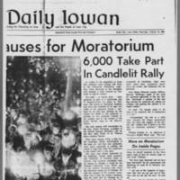 "1969-10-16 Daily Iowan Article: """"University Pauses for Moratorium"""" Page 2"