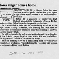 """""Iowa singer comes home"""""