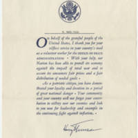 Thank you note from President Harry S Truman to W. Earl Hall