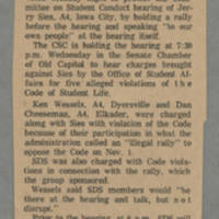 1968-12-10 Article: 'SDS Plans Rally Prior to Hearing By CSC for Sies' Page 1