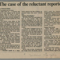 """1982-10-26 Des Moines Register Article: """"The case of the reluctant reporter"""""""