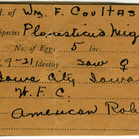 William F. Coultas, egg card # 016