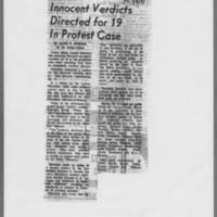 "1971-01-08 Iowa City Press-Citizen Article: """"Innocent Verdicts Directed for 19 In Protest Case"""""