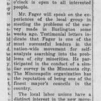 "1951-02-10 Burlington Labor News Article: ""Human Relations Meeting Announced"""