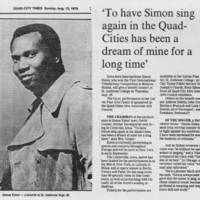 "1979-08-12 Article: """"To have Simon sing again in the Quad-Cities has been a dream of mine for a long time"""""