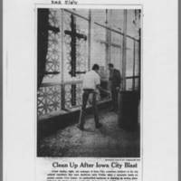 "1971-05-08 Des Moines Register Article: """"Clean Up After Iowa City Blast"""" Page 1"