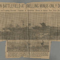 "Clipping: """"Here's European Battlefield At Snelling Minus Only Death Horror"""" Page 1"