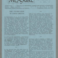 Newsletter: MEASURE, Documentary Supplements No. 3 Page 1