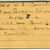 William F. Coultas, egg card # 011
