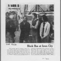 """1971-04-21 Des Moines Register Photo: """"""""Block Bus at Iowa City"""""""" Page 1"""
