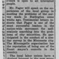 "1950-02-10 Burlington Labor News Article: ""Human Relations Meeting Announced"""