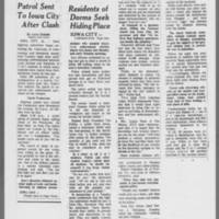 "1971-05-12 Des Moines Register Articles: """"Patrol Sent To Iowa City After Clash"""" """"Residents of Dorms Seek Hiding Place"""" Page 1"