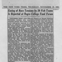 "1953-11-19 New York Times Article: """"Easing of Race Tensions by 20 Fisk Teams Is Reported at Negro College Fund Forum"""""