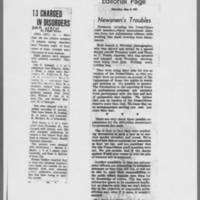 "1971-05-08 Des Moines Register Article: """"13 Charged in Disorders"""" ICPC Editorial: """"Newsmen's Troubles"""""