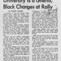 "1969-04-25 Daily Iowan Article: ""University Is a Ghetto, Black Charges at Rally"""