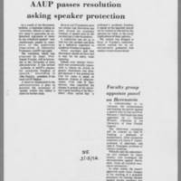 1972-03-14 Daily Iowan Article: 'AAUP passes resolution asking speaker protection'