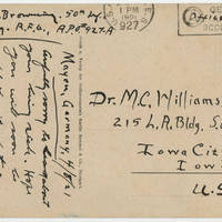 1921-04-08 Robert M. Browning to Dr. Mabel C. Williams - Postcard - Back