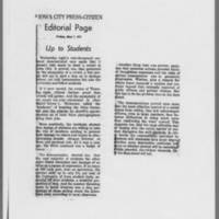 "1971-05-07 Iowa City Press-Citizen Deitorial: """"Up to Students"""""