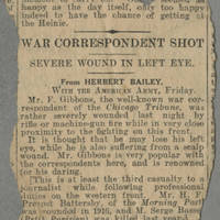 "Clipping: """"War Correspondent Shot"""" Page 1"