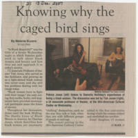 "2007-12-13 Daily Iowan Article: ""Knowing why the caged bird sings"" Page 1"