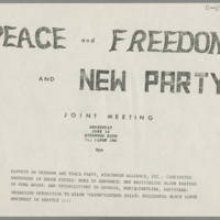 "1969-06-18 Joint Meeting Flyer: """"Peace and Freedom and New Party"""""