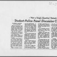 "1971-11-16 Iowa City Press-Citizen Article: """"Student-Police Panel Discussion Centers Around Past Demonstrations"""" Page 1"