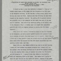 "1970-05-07 """"A Description of Events Which Occurred on or About The Pentacrest Area on May 7 and 8, 1970"""" Page 1"