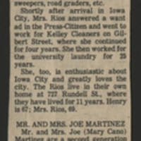 "1983-05-07 Iowa City Press-Citizen Article: """"The Rios and Martinez families happy in Iowa City"""" Page 4"