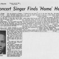 """1968-04-18 """"""""Concert Singer Finds 'Home' Here"""""""""""