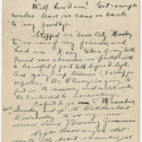 1919-09-25 Bob Browning to Karl Hoffman Page 1