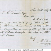 Thomas Clark Durant correspondence with his brother, William F. Durant, regarding operation and expenses of the Monroe and Marion mines, Union County, North Carolina, 1854-1855