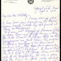 1918-09-02 May Hollister-Smith to Mrs. Whitley Page 1