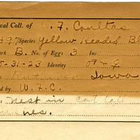 William F. Coultas, egg card # 023