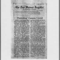 "1971-01-25 Des Moines Register Article: """"'Punishing' Campus Unrest"""""