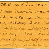 William F. Coultas, egg card # 003