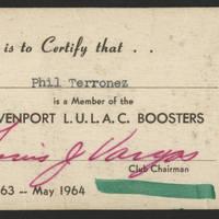 Phil Terronez LULAC Membership card