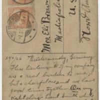 1920-02-29 Postcard: Robert M. Browning to Mrs. Eli Browning - Back