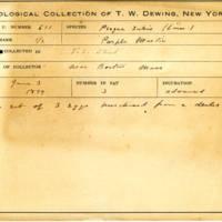 Thomas Wilmer Dewing, egg card # 496