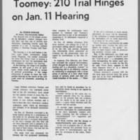 """1971-01-06 Daily Iowan Article: """"""""""""""""Toomey: 210 Trial Hinges on Jan. 11 Hearing"""""""""""