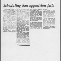 """1972-05-10 Daily Iowan Article: """"""""Scheduling ban opposition fails"""""""""""