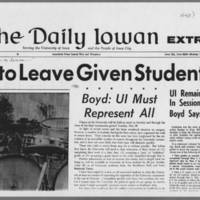 """1970-05-11 Daily Iowan Article: """"""""Option to  Leave Given Students"""""""" Page 2"""