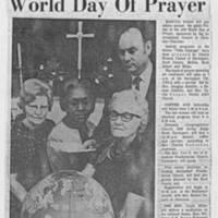 """1970-02-28 Article: """"""""Q-C Women To Mark World Day Of Prayer"""""""""""