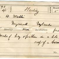 H Wallis, egg card # hw002