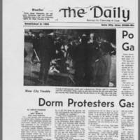 "1971-05-12 Daily Iowan Articles: """"Dorm Protesters Gassed by Police"""" """"Police Charge Crowd Gathered Near Dorms"""" Page 1"