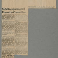 "1965-10-26 Daily Iowan Article: """"SDS Recognition Bill Pased In Committee"""" Page 1"