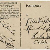 Postcard: Robert M. Browning to Theo Von Olfen - Back
