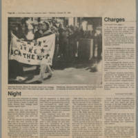 """1982-10-25 Daily Iowan Article: """"Women protest male violence with park rally"""" Page 2"""