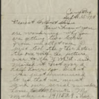 1918-09-15 Thomas Messenger to Mrs. N.H. Messenger Page 1