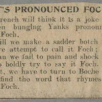 "Clipping: """"It's Pronounced Foch"""" Page 1"